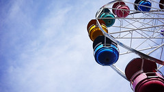 End of summer memory (Eric Flexyourhead) Tags: vancouver canada britishcolumbia bc hastingspark 2019 pne pacificnationalexhibition playland ride amusement park ferris wheel ferriswheel sky blue clouds thin wispy 169 sonyalphaa7 zeisssonnartfe35mmf28za zeiss 35mmf28