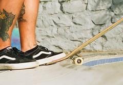 Drop in (kerainey7) Tags: skateboarding people vintage film 35mm canona1 porta800 kodak skate vans pool