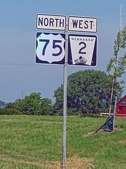 North US-75/West NE-2, 12 July 2019 (photography.by.ROEVER) Tags: minnesota 2019 july july2019 vacation roadtrip 2019vacation 2019roadtrip minnesota2019roadtrip minnesota2019vacation drive driving driver driverpic ontheroad road highway nebraska otoecounty nebraskacity sign shieldsign us75 ushighway75 highway75 nebraskastatehighway2 statehighway2 highway2 ne2 westbound northbound westboundne2 northboundus75 morning usa