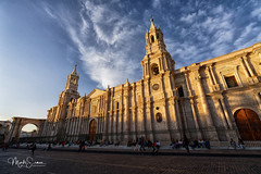 Basilica Cathedral of Arequipa just before sunset (marko.erman) Tags: arequipa plazadearmas latinamerica southamerica cathedral chruch basilica architecture monument sunrays perspective pov wideangle sunset facade towers sony travel outside outdoor