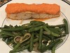Broiled Atlantic salmon with roasted red pepper and onion purée; sautéed blue lake beans with shallots and slivered almonds (TomChatt) Tags: food homecooking