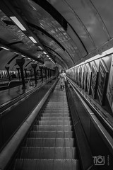 How the Tube used to be (2) - St John's Wood (Paul Perton) Tags: bw fuji london stjohnswood tube x100f blackandwhite candid city dirty escalator grubby historic outdoor street streetphotography urban