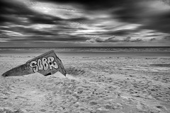 remnant (the ripped bystander) Tags: blackwhite blockhaus beach sky cloudy sand sea north france
