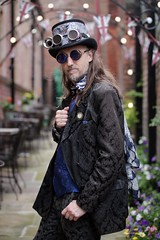 Portrait from the Whitby Steampunk Weekend VI (Gordon.A) Tags: uk england festival yorkshire culture event whitby vi steampunk subculture wsw convivial whitbysteampunkweekend costumes people man male face hat pose design costume model creative goggles posed posing lifestyle style portrait color colour colors digital canon outside outdoors photography eos colours outdoor naturallight portraiture amateur 750d sigma sigma50100mmf18dc