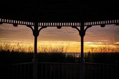 gazebo (Yuki (8-ballmabelleamie)) Tags: illinoisbeachstatepark gazebo shadow backlight sunrise frame framed