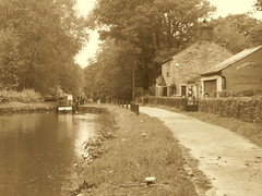 P1480821          Towpath  approaching Lock No1, Marple Locks.    (sepia & retro filter)  (Peak Forest Canal)   September 2019 (dave_attrill) Tags: cottage marple peakforest canal towpath peakdistrict nationalpark cheshire cheshirering oldknow september 2019 thomastelford sepia