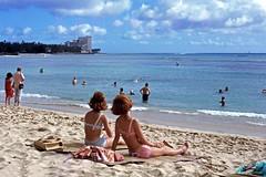 Waikiki Beach Wahine 1965 (Kamaaina56) Tags: 1960s waikiki hawaii beach wahine slide waikikibeachcenter