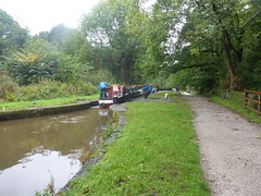 Barge approaching  Lock No2, Marple Locks.   (Peak Forest Canal)   September 2019 (dave_attrill) Tags: barge marple peakforest canal towpath peakdistrict nationalpark cheshire cheshirering oldknow september 2019 thomastelford