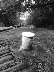 Mooring post at  Lock No2, Marple Locks.   (Peak Forest Canal)   September 2019 (dave_attrill) Tags: mooringpost marple peakforest canal towpath peakdistrict nationalpark cheshire cheshirering oldknow september 2019 thomastelford blackwhite