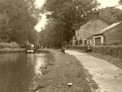P1480820          Towpath  approaching Lock No1, Marple Locks.  (sepia)   (Peak Forest Canal)   September 2019 (dave_attrill) Tags: cottage marple peakforest canal towpath peakdistrict nationalpark cheshire cheshirering oldknow september 2019 thomastelford sepia