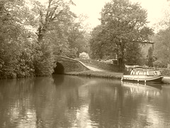 Bottom Lock and barge, Marple   (Peak Forest Canal)   September 2019 (dave_attrill) Tags: bottomlock barge marple peakforest canal towpath peakdistrict nationalpark cheshire cheshirering oldknow september 2019 thomastelford sepia