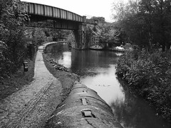 Engineers Wharf, Marple.      (Peak Forest Canal)   September 2019 (dave_attrill) Tags: ramp bridge engineerswharf marple peakforest canal towpath peakdistrict nationalpark cheshire cheshirering oldknow september 2019 thomastelford blackwhite