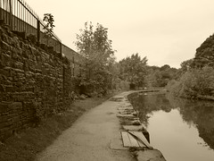 Canal towpath near Engineers Wharf  (Peak Forest Canal)   September 2019 (dave_attrill) Tags: marple peakforest canal towpath peakdistrict nationalpark cheshire cheshirering oldknow september 2019 thomastelford sepia