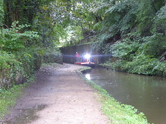 Barge  emerging from the depths of Rose Hill Cutting, Marple   (Peak Forest Canal)   September 2019 (dave_attrill) Tags: barge rosehill cutting marple peakforest canal towpath peakdistrict nationalpark cheshire cheshirering oldknow september 2019 thomastelford