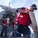 A Sailor handles 57 mm rounds aboard USS Gabrielle Giffords (LCS 10).