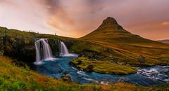 Kirkjufell (ArmyJacket) Tags: kirkjufell kirkjufellfoss grundarfjörður snæfellsnes churchmountain mountain waterfall landmark water stream sunset clouds color outdoors scenic tourist travel nature