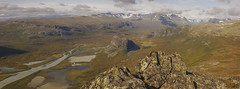 DSC05642-_LookingUpIntoRapadalenFromSkierffe_4x46mm_pano (RobNDub) Tags: arctic sweden kungsleden padjelantaleden sarek 2019 hiking free wild camping ultralight landscape photography aurora borealis summit skierffe stf hut rapadalen