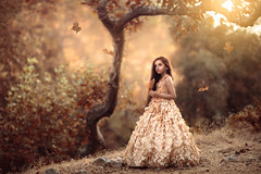 One with Nature ({jessica drossin}) Tags: jessicadrossin girl child leaves leaf falling autumn pretty hair long trees sunset seasons alone peaceful dress wwwjessicadrossincom