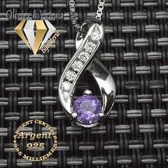 Pendentif améthyste avec nœud brillant en argent 925 (olivier_victoria) Tags: argent 925 pendentif zircon violet chaine brillant noeud pourpre amethytse