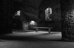 Koldinghus Basement (~footloosegups~) Tags: alter koldinghus castle church bench underground light shadows denmark kolding blackwhite