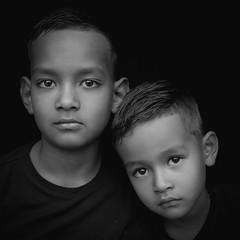DSCF1830-6 (YouOnFoto) Tags: black white zwart wit portret portrait closeup dichtbij boy boys jongen broer soft eyes dark lowkey fujifilm xt20