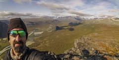 DSC05691-Skerffe_rapadalen_Selfie_pano (RobNDub) Tags: arctic sweden kungsleden padjelantaleden sarek 2019 hiking free wild camping ultralight landscape photography aurora borealis summit skierffe stf hut rapadalen