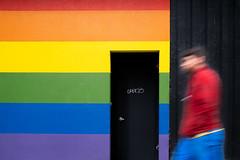 (johnjackson808) Tags: vancouver rainbow grafitti lgbt people fujifilmxt3 streetphotography doorway wall blur helmckenst downtown pride
