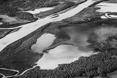 DSC05668-RapadalenRiverDelta_silt_pools_from_Skierffe_BnW (RobNDub) Tags: arctic sweden kungsleden padjelantaleden sarek 2019 hiking free wild camping ultralight landscape photography summit skierffe stf hut rapadalen