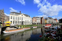 Ghent Centrum (kiwi photo lover) Tags: belgium flanders ghent gent leie river trading cloths blue historical sky clouds summer hot city centre skyline beauty waterway medieval wool blankets reflections flowers gravensteen castle