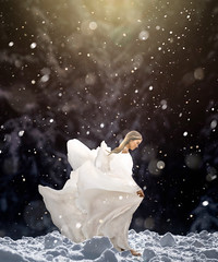 Breaking free (Fanbrosart) Tags: winter woman snow forest photoshop creativity snowflakes model manipulation imagination snowing visual visualart cold breakingfree