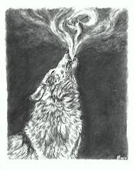 Dual Spirit 09-17-2019 (SpedBug) Tags: wolf hummingbird coloredpencil howl gamsol arteza mist dualspirit animalart sketch guide