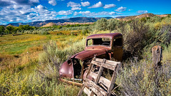 Out to Pasture (LDMcCleary) Tags: abiquiu newmexico truck old rusty clouds sunshine horse