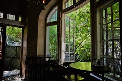 overlooking the garden (M Rosen) Tags: garden windows daytime outdoors indoors brown green trees tables reflection cafe romania bucharest nikon nikonz6 chairs eatery outside inside