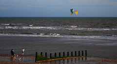 Kitesurfing off the beach at Camber Sands (neil mp) Tags: cambersands eastsussex beach kitesurfing canopy jurysgap rye ryebay lydd romneymarsh englishchannel lamanche