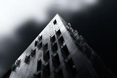 Confluence (Stéphane Sélo Photographies) Tags: architecture bw eté france lyon nb noiretblanc pentax pentaxk3ii rhône rhônealpes city clouds confluence façade lowkey minimalisme nuages urban urbanlandscape ville