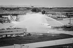 Water Salute. First AF A350 / F-HTYA (La Pom ) Tags: airplane air france af a350 fhtya cdg lfpg airliner water salute fireman aircraft airbus toulouse skyteam sky team