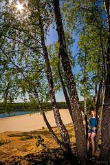_MG_2914 (Mikhail Lukyanov) Tags: landscape summer lake beach sand sun rays trees birch foliage girl slim beautiful portrait