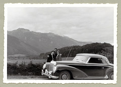 """Mercedes-Benz 300 S Cabriolet A (Vintage Cars & People) Tags: vintage classic black white """"blackwhite"""" sw photo foto photography automobile car cars motor mercedes 300 mercedesbenz mercedes300 w188i w188 cabriolet cabrio vehicle antique auto economicmiracle wirtschaftswunder lady woman 1950s 50s fifties"""