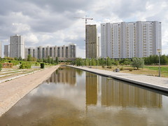 Russian apartment blocks but no people.