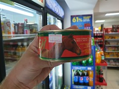 In a random Supermarket, we found cans of horsemeat.
