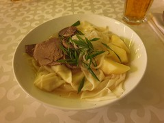 Besbarmak, Kazakhstans national dish. A dish of pasta and horse meat.