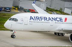 Taxiing. First AF A350 / F-HTYA (La Pom ) Tags: airplane air france af a350 fhtya cdg lfpg airliner water salute fireman aircraft airbus toulouse skyteam sky team
