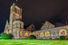 Pics from Pittsburgh #19 (tquist24) Tags: eastliberty eastminsterpresbyterianchurch hdr nikon nikond5300 outdoor pennsylvania pittsburgh architecture church geotagged grass lawn light longexposure night outside sky stainedglass stainedglasswindows window windows