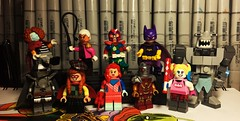 Here's some DC Figs (Doctor Allo) Tags: lego dc ragdoll flamingo crazy quilt batman suicide squad batgirl knight squire deadshot harley quinn king shark plastique