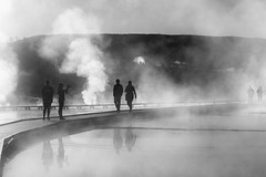 Steam and Mist (Kirk Lougheed) Tags: grandprismaticspring usa unitedstates wyoming yellowstone yellowstonenationalpark bw blackandwhite fumarole hotspring landscape mist monochrome nationalpark outdoor park silhouette sky steam