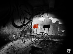 red shadow (baumfinder) Tags: abandoned decay verlassen verfall veb chair urbex urbanexploration red colorkey olympus
