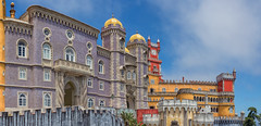 Pena Palace, Sintra (Ray in Manila) Tags: sintramountains nationalmonument lisboa lisbon sanpedrodepenaferrim worldheritage unesco romanticist penapalace castle red yellow historic architecture touristy royal colourful panorama eos650d palace portugal sintra