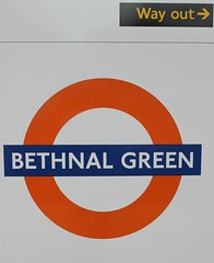 Bethnal Green . (AndrewHA's) Tags: railway train bethnalgreen station eastlondon sign roundel east end london overground