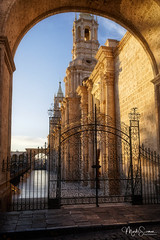 Often destroyed, always rebuilt (marko.erman) Tags: arequipa basilica cathedral peru plazadearmas latinamerica southeamerica church monument architecture gate towers light sunrays sunset outside outdoor pov travel popular mood moody sony