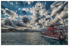 At the Harbour of Pigadia (WS Foto) Tags: pigadia karpathos dodekanes greece griechenland europe eu ship ausflusboot harbour hafen clouds dramatic sea blue meer